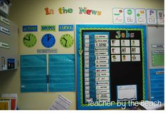 """""""In the News"""" bulletin board, important times shown on clocks, schedule, helpers, focus standards"""