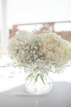 hydrangeas and baby's breath...maybe add some pink and a more elegant vase