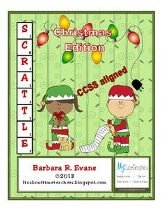 FREE!!!  Scrattle is a learning center activity that combines word work with computation; individual effort with competition. #CCSS #Gifted #Scrattle  #holidays #criticalthinking #higherorderthinkingskills #Christmas #enrichment #BarbEvans #itsabouttimeteachers #math #vocabulary