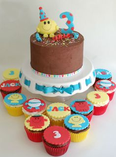 Mr Men Cake- love the topper matching the 3