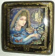"Palekh Russian Large Lacquer box Titled "" Little Helper of Winter Queen "" Hand Painted"