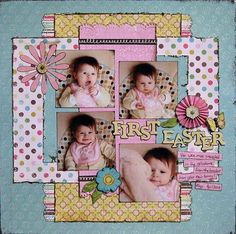 57 Ideas For Baby Pictures Easter Scrapbook Layouts Mini Album Scrapbook, Baby Girl Scrapbook, Baby Scrapbook Pages, Kids Scrapbook, Scrapbook Designs, Scrapbook Sketches, Scrapbook Page Layouts, Scrapbook Paper Crafts, Scrapbook Cards