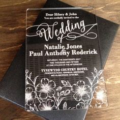 Calligraphy Classic A6 Laser Cut / Engraved Acrylic Wedding Invitation More