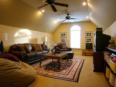 Rich and relaxing family room found life in an attic remodel.