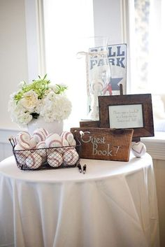 Baseball themed guest book #weddings #guestbooks @Audrey Tyner this is cute!!! You could do a jersey and this baseball idea!