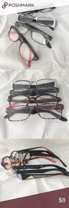 Reading Glasses +2.50 Brand New! Three pair of Hand painted reading glasses. Yes, they are brand new! Green polka dots, grey black and silver, pink and red polka dots, and the last pair are round. Look no more for your reading glasses! Accessories Glasses