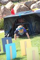 Superhero Training Party - ideas include obstacle course, batcave, leaping over tall buildings (use mega blocks? or cereal boxes?), testing marksmanship, teamwork & endurance...