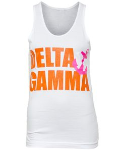 Delta Gamma Orange Pink Anchor Tank #adamblockdesignhalloween @Adam M Block Design