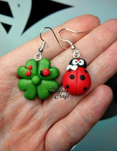 Ladybird / Ladybug and Four Leaves Clover Earrings by MagieCraft
