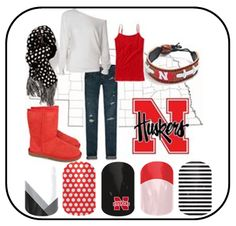 Nebraska Huskers Gameday Outfit - Jamberry Nail Wraps http://vandeloonails.jamberrynails.net/