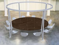 king arthur round swing table by duffy london hovers above ground - designboom | architecture & design magazine