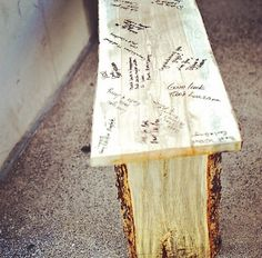 Guest book bench for the porch!