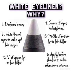 White eyeliner is a beauty secret with many uses! Order yours today at www.ShashLash.com #makeup #eyeliner #younique