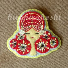 Handmade EMBROIDERED GIRL with Red Hair Felt BROOCH Pin