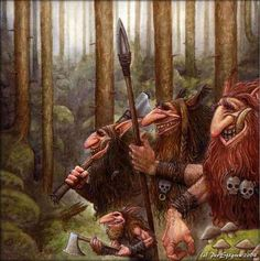 A Fantasy Voyage: Trolls - Scandinavian, with endless forest, fjords, cliffs and mirror lakes are the birthplace of the Trolls. Forest Creatures, Magical Creatures, Fantasy Creatures, Creatures 3, Dark Fantasy, Fantasy Art, Valhalla, Kobold, Norse Mythology