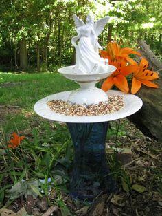 angel bird feeder from repurposed glassware
