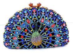 crystal encrusted peacock clutch bag