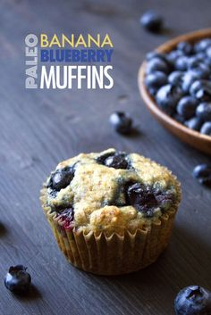 Paleo Banana-Blueberry Muffins Recipe | Gluten, grain, dairy, & refined sugar free