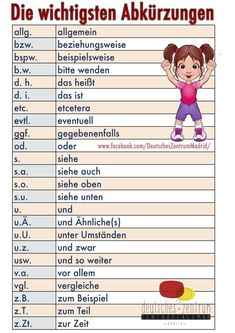 Abbreviations German vocabulary grammar German Alemán DAF a . Foreign Language Teaching, German Language Learning, Dual Language, German Grammar, German Words, German Resources, Deutsch Language, Learn German, Learn French