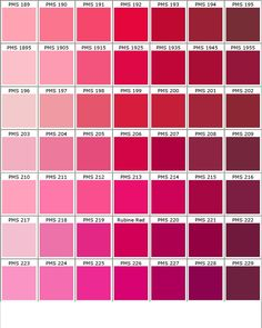 Pantone Shades Of Pink Color Chart