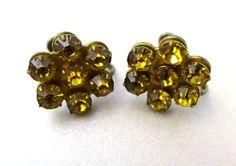 Topaz  Rhinestone Earrings 1940's 7 Prong set Stones Screw Backs by BonniesVintageAttic