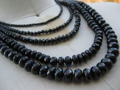 LUNA Multi strand Black Spinel Neckpiece with by NymphJewels