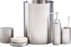 stainless steel bath accessories  | CB2 - trash can, soap dish, toothbrush cup - $45.85 (less 15% is $38.97)