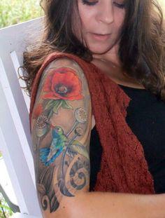 Half sleeve, tattoo,hummingbirds, poppies, Italian