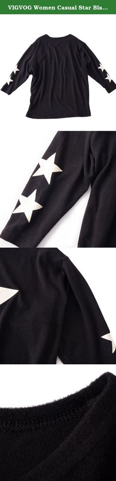 VIGVOG Women Casual Star Black Pullover Jersey Chunky Long Ribbed Tops Black X-Large. Package Included: 1 x Top Weight: 0.30kg. Features: Brand New & High quality. Hand wash recommended. No heat dry, bleach, or iron. New Trend. Design for fair ladies. This plus szie top featuring star printing at front and sleeve side,Scoop neck,Ultra-soft handfeel and Chunky design for a lived-in look. Very nice with jeans and leggings It's just what you need for beach days, concerts, and everywhere in...