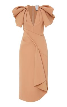 Redwood Ruffled Crepe Midi Dress by ACLER Now Available on Moda Operandi Simple Dresses, Elegant Dresses, Pretty Dresses, Beautiful Dresses, Short Dresses, Club Dresses, Sexy Dresses, Formal Dresses, Summer Dresses