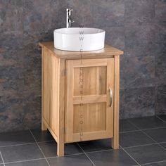 Ohio Solid Oak Bathroom Basin Cabinet Open