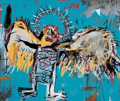 Jean-Michel Basquiat (Haitian-American, Neo-Expressionism, 1960-1988): Untitled (also known as, Fallen Angel), 1981. Acrylic and oilstick on canvas. 167.6 x 198.1 cm (66 x 78 inches). Private Collection.