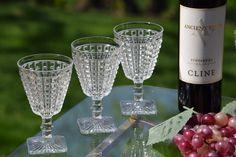 Vintage Wine Glasses, Set of Vintage Pressed Glass Square Stem Wine Glasses, Mixologist Craft Cocktail Glasses, Antique Wine Glasses Craft Cocktails, Summer Cocktails, Vintage Wine Glasses, Etched Wine Glasses, Port Wine, Pressed Glass, Wines, Wine Glass, Antiquities