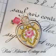 Yellow China Pink Rose Heart Sterling Charm & Crystal for Bracelet or…