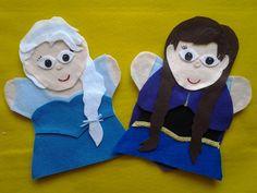Frozen felt hand puppets Anna, Elsa