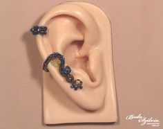 MAD SCIENTIST STEAMPUNK ear cuff blue and brass by bodaszilvia