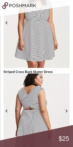 Torrid skater dress Black and white skater dress from torrid with a cut out criss cross on the back. I believe it's the scuba material. torrid Dresses