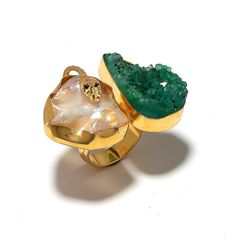 Emerald Green Druzy Ring Pearl Ring Gold Ring by FootSoles on Etsy