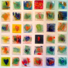 May do prints and create patterns.possibly use res and bottle cap? Kids Art Market: Shrinky Dink Hearts with Jim Dine Kindergarten Art, Preschool Art, Art Education Projects, Collaborative Art Projects For Kids, Education Quotes, Ecole Art, Bulletins, Art Auction, Auction Ideas