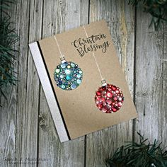 My Impressions: SSS STAMPtember Release: Embellished Ornaments christmas card Button Christmas Cards, Unique Christmas Cards, Christmas Cards 2018, Christmas Card Crafts, Christmas Blessings, Homemade Christmas Cards, Xmas Cards, Homemade Cards, Handmade Christmas