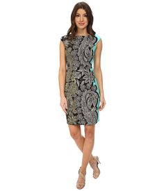 London Times Side Flower Paisely Sheath Dress Black/Coral - 6pm.com