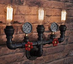 The Triton Industrial Steampunk Black Pipe Light by TMLStudios
