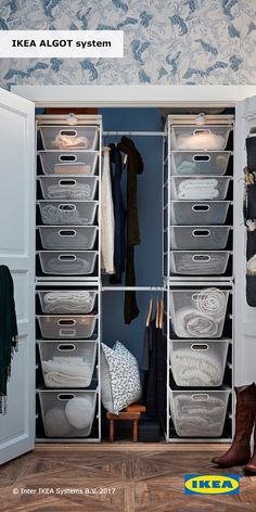 Customizable wire storage can organize what's behind closed doors. Since the IKEA ALGOT system can be easily customized to fit your space and storage needs, it can be used throughout your home, and in a combination that's right for you. Walk In Closet Ikea, Kid Closet, Closet Bedroom, Closet Ideas, Ikea Algot, Ikea Closet Organizer, Closet Storage, Small Closet Organization, Organizing