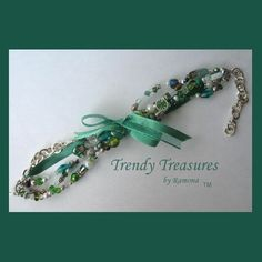 Green & White Eclectic, Crystals, Pearls, Chains, Ribbons Bracelets,#TrendyTreasuresByRamona