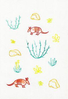 Original 7 x 10 illustration of armadillos & desert plants. Drawn on 98lb mix media paper.