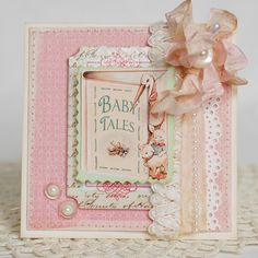 A lovely, lovely baby card - but I would replace the peach ribbon with a more harmonious colour - maybe a dark mink green, or darker pink than the background, or even white.