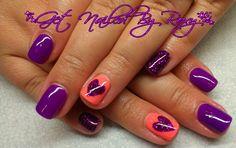 Glitter purple, neon coral w heart mani Gelish nails www.GetNailedByRoxy.com