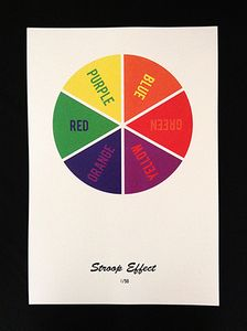 Stroop Effect -  A print creating a feeling of disorientation which explores the relationship between the Stroop effect and common color theory.