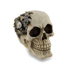 Macabre Steampunk Skull Gear Head Sculptural Statue