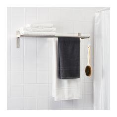 GRUNDTAL Knage/hylde til håndklæder, rustfrit stål rustfrit stål -